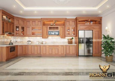 10+ mẫu thiết kế tủ bếp tân cổ điển với gỗ gõ đỏ tự nhiên
