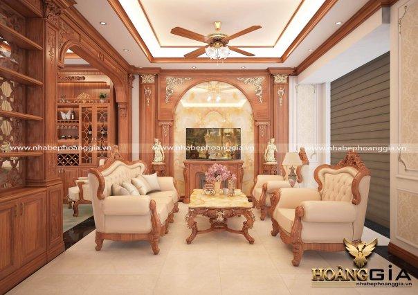 Dự án thiết kế phòng bếp kết hợp phòng khách nhà anh Vũ ở Nam Định