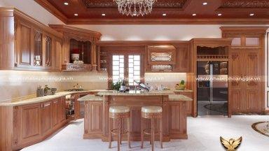 Tìm hiểu làm tủ bếp gỗ gõ đỏ hết bao nhiêu tiền?