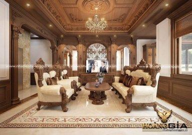 Top 15 mẫu sofa gỗ gõ đỏ tân cổ điển đẹp cho phòng khách