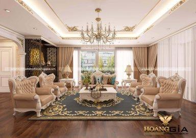 Mẫu phòng khách biệt thự tân cổ điển gỗ tự nhiên sơn trắng cao cấp