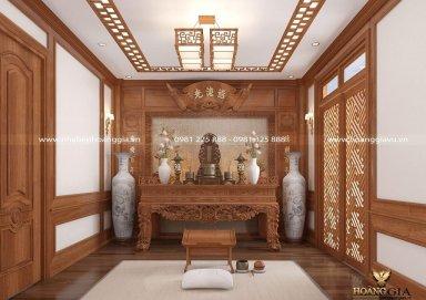 Mẫu thiết kế phòng thờ gỗ tự nhiên – Khách hàng chị Huệ Linh (Hà Nam)