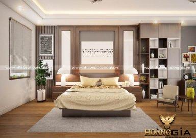 Mẫu thiết kế phòng ngủ hiện đại đẹp gỗ óc chó