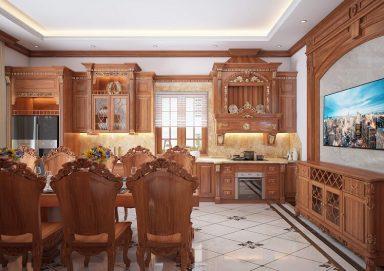 Mẫu thiết kế phòng bếp ăn tân cổ điển gỗ tự nhiên sang trọng