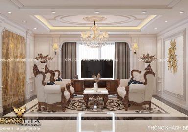 Ý tưởng thiết kế phòng khách bếp chung cư tân cổ điển sang trọng
