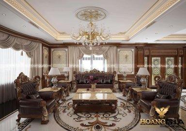 Mẫu thiết kế phòng khách biệt thự cổ điển đầy đẳng cấp
