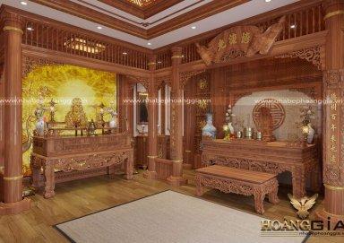 Mẫu thiết kế bàn thờ Phật và bàn thờ gia tiên trang nghiêm