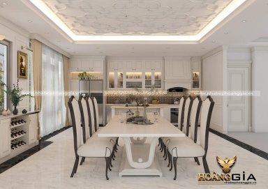 Thanh lịch với mẫu thiết kế phòng ăn và bếp tân cổ điển Châu Âu