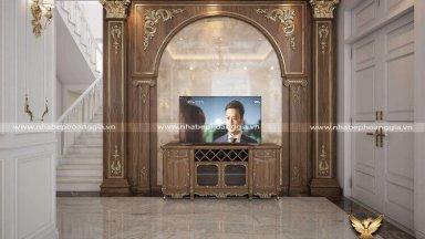 Tư vấn cách thiết kế kệ tivi phòng khách tân cổ điển sang trọng