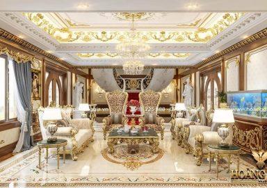 Mẫu thiết kế nội thất phòng khách cổ điển sang trọng đầy đẳng cấp