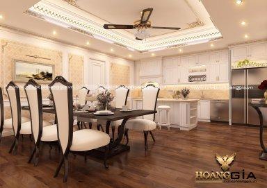 Thiết kế phòng ăn và phòng bếp theo phong cách tân cổ điển