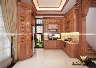 Thiết kế nội thất phòng bếp theo phong cách tân cổ điển nhẹ nhàng đẳng cấp