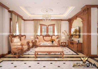 Mẫu thiết kế nội thất phòng khách bếp tân cổ điển gỗ gõ sang trọng