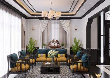 Rung động trước mẫu thiết kế phòng khách phong cách Indochine đầy thu hút