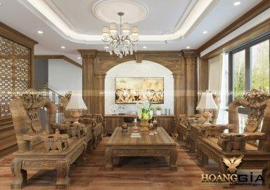 Mẫu thiết kế phòng khách tân cổ điển gỗ tự nhiên đầy sang trọng