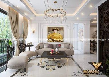 Xu hướng thiết kế phòng khách tân cổ điển nhà chung cư sang trọng