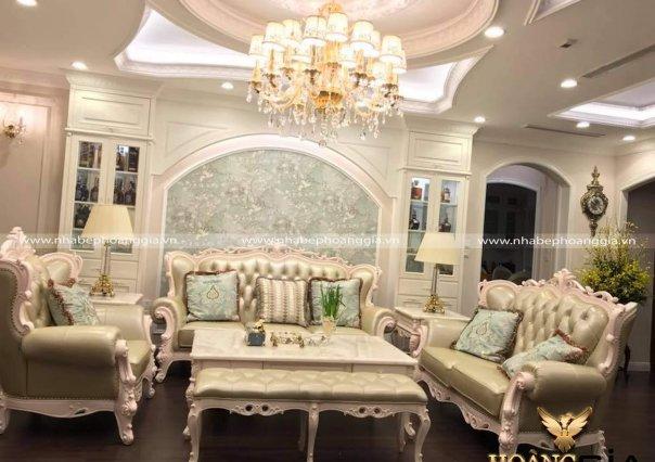 Thiết kế phòng khách và phòng bếp tân cổ điển nhà anh Hải – Time City
