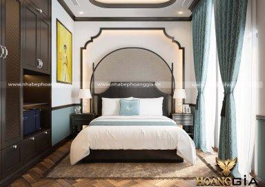 Dấu ấn thanh lịch trong phòng ngủ khách Indochine nhà chị Thúy (Vinhomes Ocean Park)