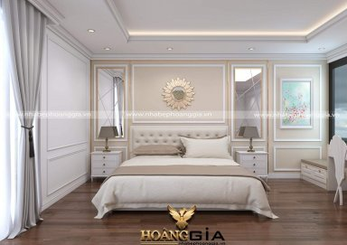Ý tưởng thiết kế phòng ngủ tân cổ sơn trắng nhẹ nhàng