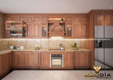 Tủ bếp gỗ tự nhiên cho nhà nhỏ xinh xắn đủ công năng sử dụng