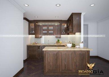 Thiết kế phòng bếp tân cổ điển gỗ óc chó nhẹ nhàng cho chung cư