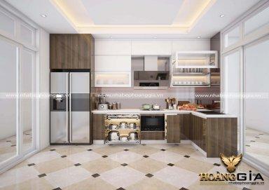 Thiết kế mẫu tủ bếp Acrylic vân gỗ đầy sang trọng, đẹp mắt