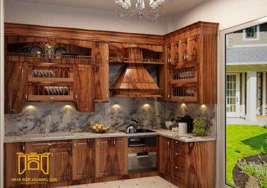 Mẫu tủ bếp tân cổ điển bằng gỗ cẩm sang trọng