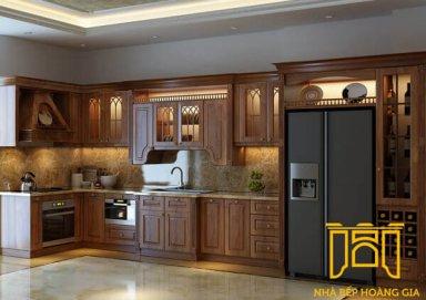 Mẫu tủ bếp mang lại vẻ ấm cúng cho căn bếp bằng vật liệu gỗ cẩm