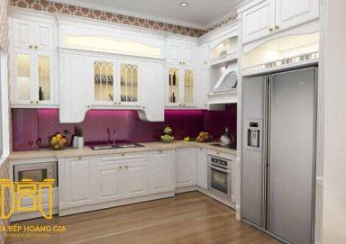 Mẫu tủ bếp cao cấp làm bằng vật liệu gỗ cẩm