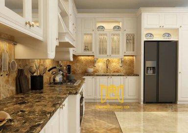 Mẫu tủ bếp cuốn hút với đường vân gỗ cẩm sáng rõ