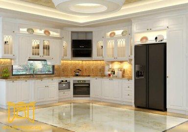 Mẫu tủ bếp mang lại không gian ấm cúng bằng gỗ cẩm