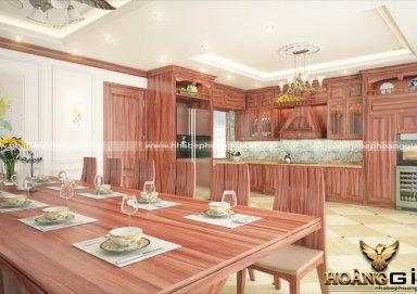 Mẫu tủ bếp chất lượng cao với gỗ cẩm sang trọng