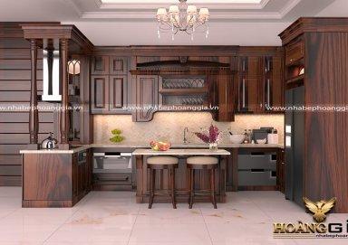 Mẫu tủ bếp sang trọng chất liệu gỗ cẩm