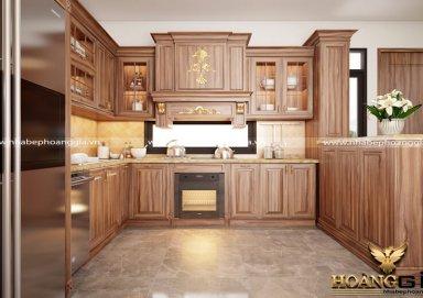 Mẫu tủ bếp đẹp chất liệu gỗ cẩm nhập khẩu