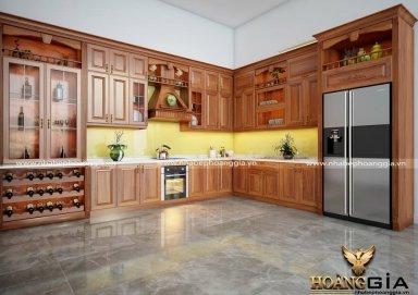 Mẫu tủ bếp đẹp làm bằng gỗ gõ cao cấp