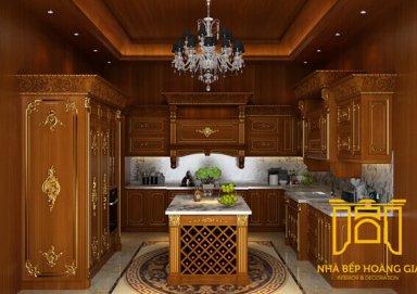 Mẫu tủ bếp sang chảnh làm bằng gỗ gõ