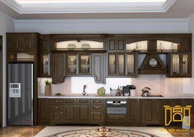 Mẫu tủ bếp đẹp làm bằng gỗ gõ đỏ sang trọng