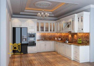 Mẫu tủ bếp lịch lãm làm bằng gỗ gõ đỏ cao cấp