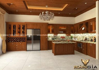 Mẫu tủ bếp đẹp làm bằng gỗ gõ