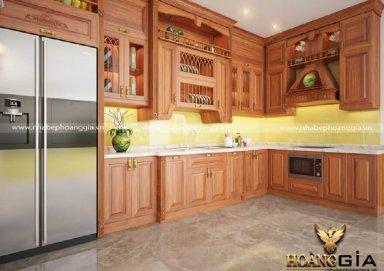 Mẫu tủ bếp làm bằng gỗ gõ đỏ đẳng cấp