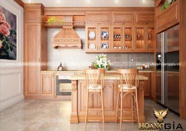 Mẫu tủ bếp làm bằng gỗ gõ có quầy bar sang trọng