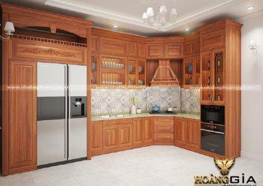 Mẫu tủ bếp chữ L vật liệu gỗ gõ nhập khẩu cao cấp