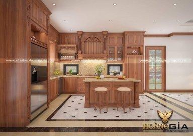 Ấn tượng với mẫu thiết kế tủ bếp gỗ gõ đỏ cao cấp