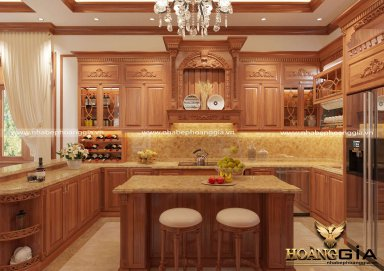Mẫu thiết kế tủ bếp gỗ gõ đỏ sang trọng nhà anh Lượng