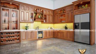 Báo giá tủ bếp gỗ tự nhiên cao cấp, chuẩn nhất 2019