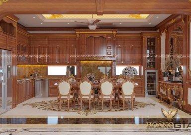 Ý tưởng thiết kế tủ bếp gỗ gõ đỏ tự nhiên sang trọng cuốn hút