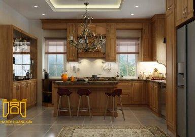 Mẫu tủ bếp chất liệu gỗ gõ tự nhiên thẩm mỹ