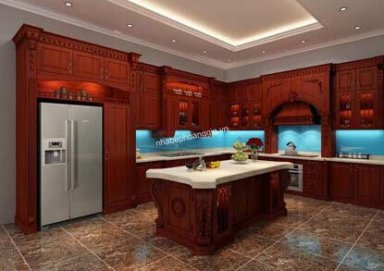 Mẫu tủ bếp làm bằng gỗ hương cao cấp
