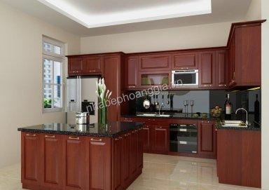Mẫu tủ bếp tiện dụng làm bằng gỗ hương sang trọng