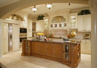Mẫu tủ bếp phong cách tân cổ điển làm bằng gỗ hương